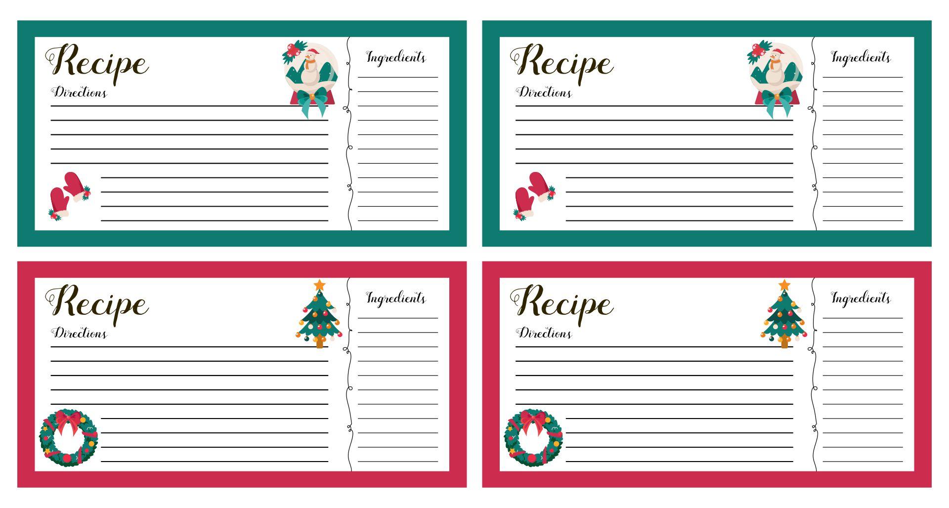 recipe card templates free editable