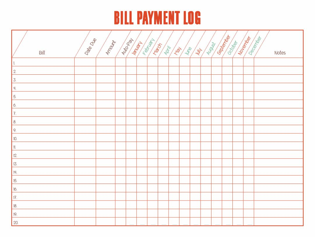 6 Best Free Printable Bill Payment Chart