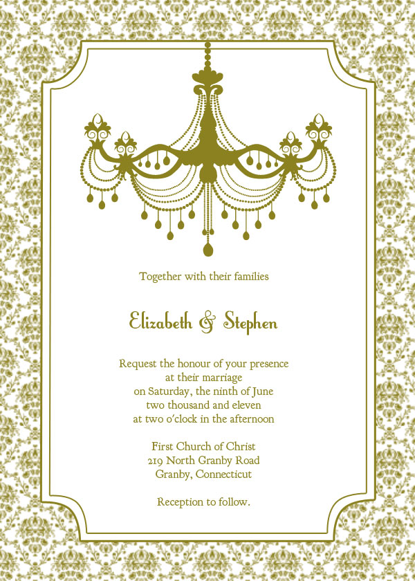 Vine Chandelier Wedding Invitation