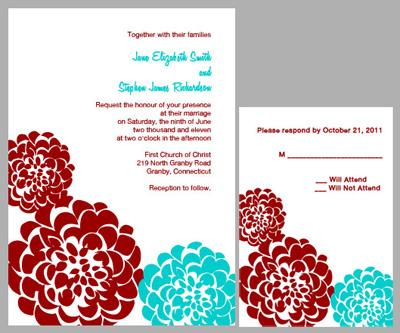 Red Aqua Chrysanthemum Free Wedding Invitation