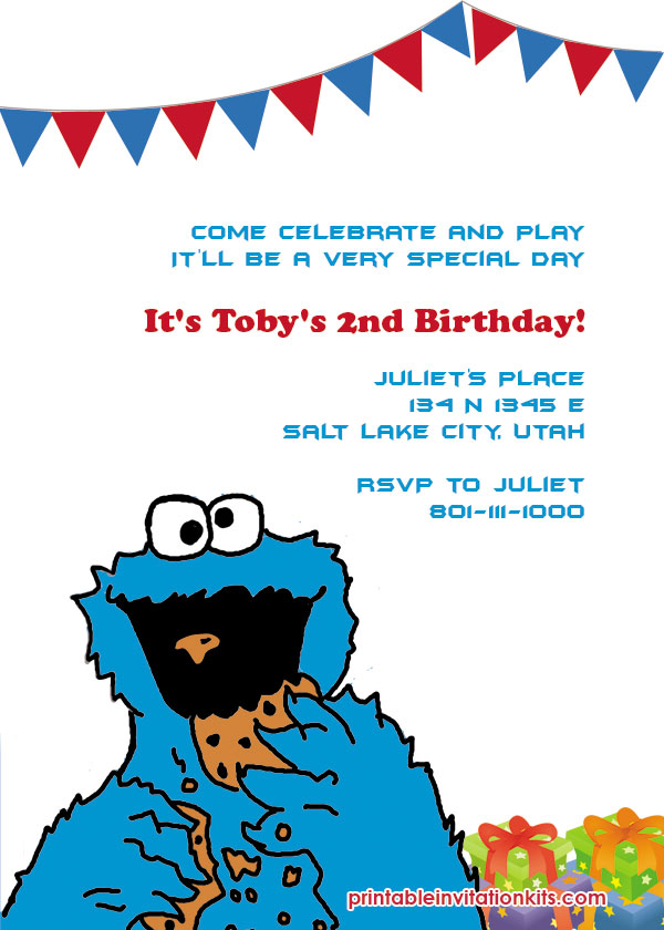 cookie monster invitation wedding