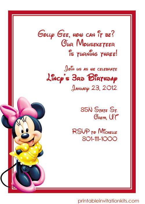 minnie mouse birthday invitation