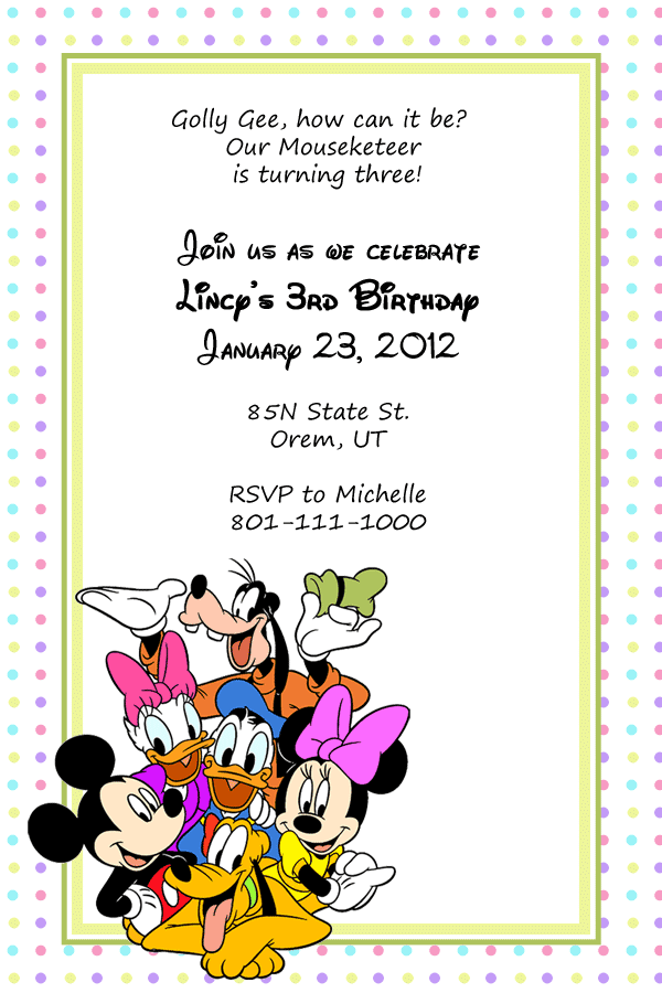 mickey and friends birthday invitation