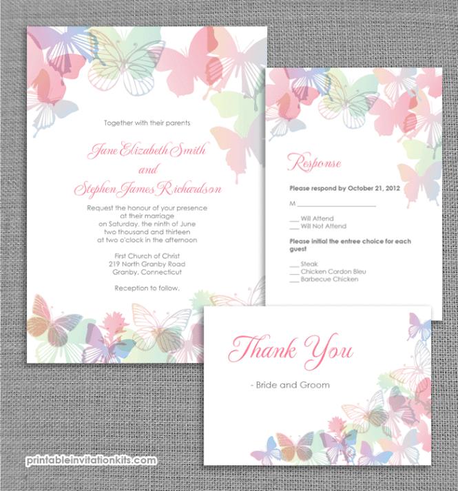 Spring Erflies Wedding Invitation