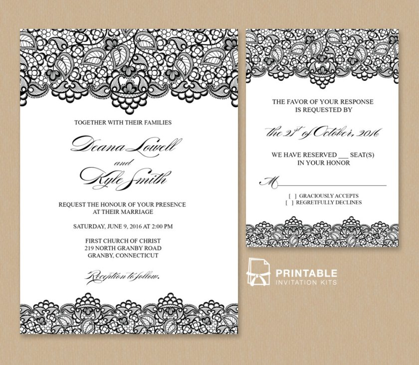 Beautiful Black Lace Wedding Invitation And Rsvp