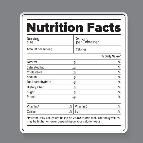 nutrition facts label template microsoft word