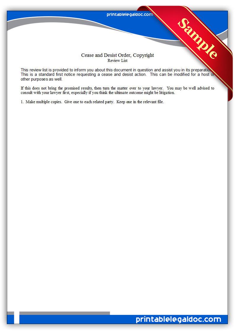 Free Printable Cease  Desist Notice Copyright Form GENERIC