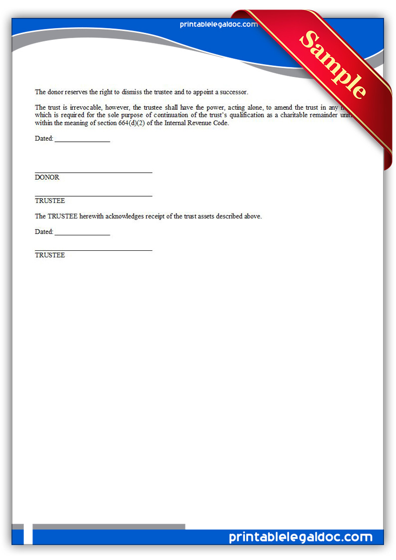 Free Printable Charitable Remainder Trust Form GENERIC
