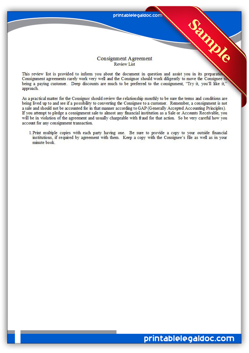 Free Printable Consignment Agreement Form GENERIC