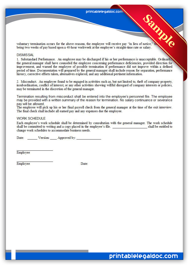 Free Printable Employment Manual  Employee Signature Form GENERIC