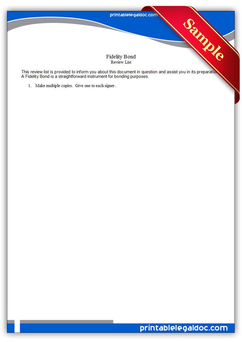 Free Printable Fidelity Bond Form GENERIC