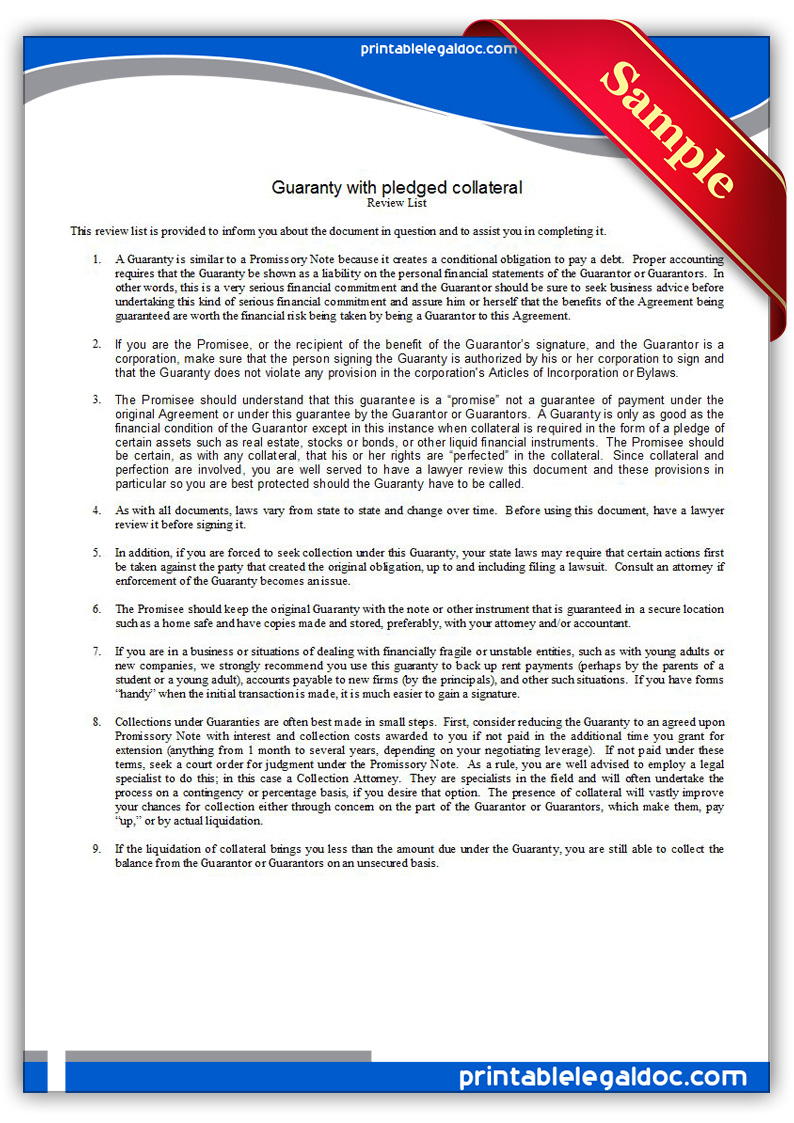 Free Printable Guaranty With Pledge Form Free Printable Guaranty With Pledge  Form