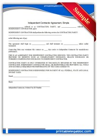 Free Printable Independent Contractor Agreement, Simple ...