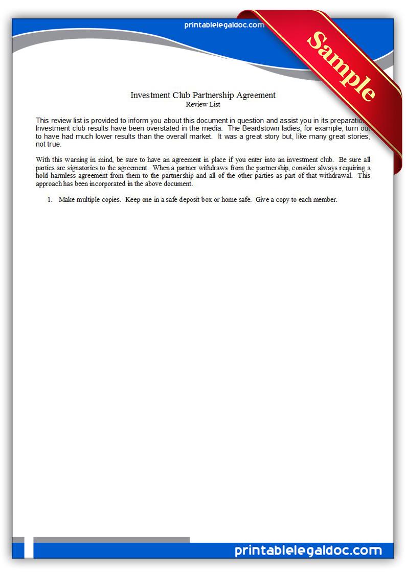 Free Printable Investment Club Partnership Agreement Form