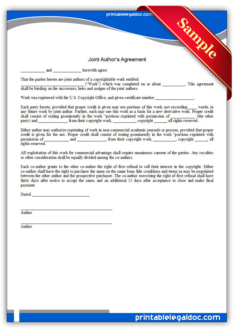 Free Printable Joint Authors Agreement Form GENERIC
