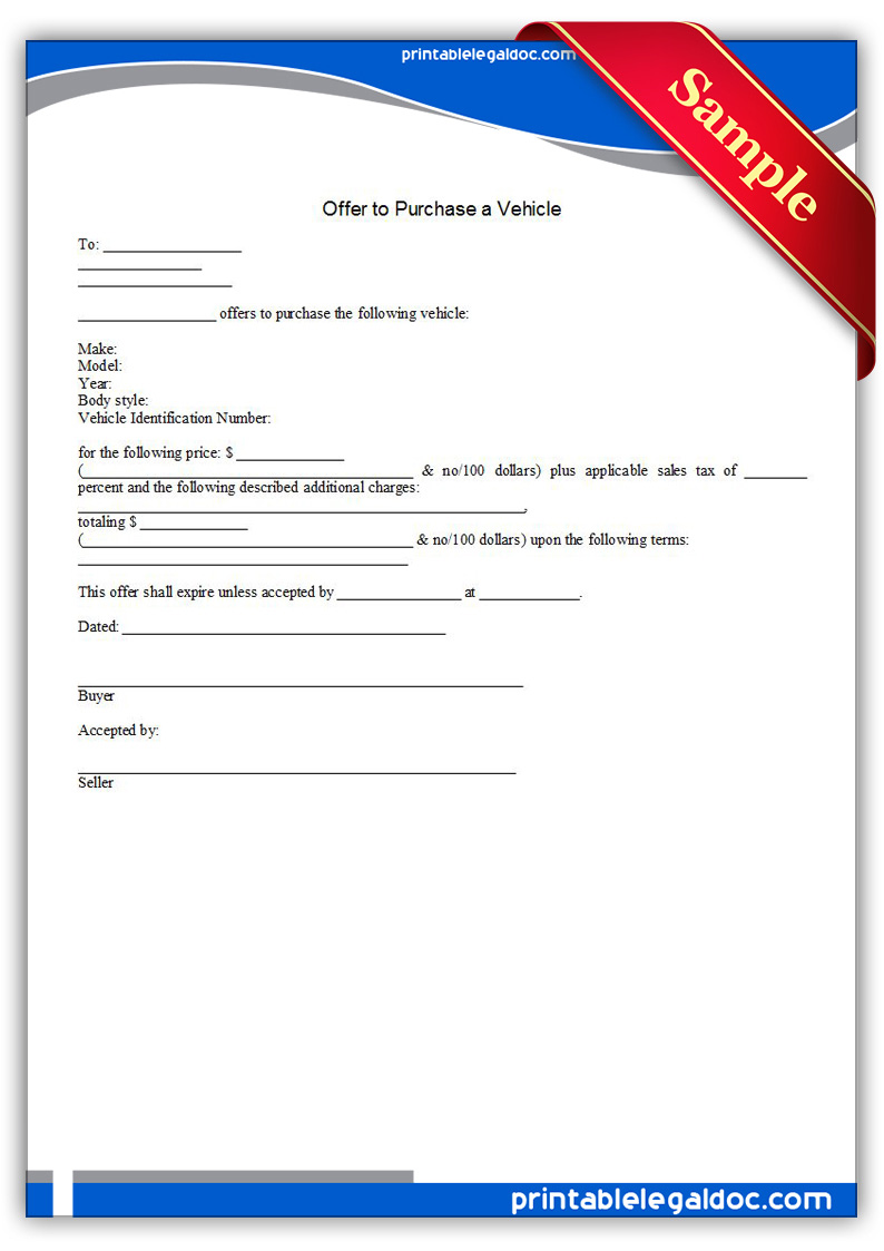 Free Printable Offer To Purchase A Vehicle Form GENERIC