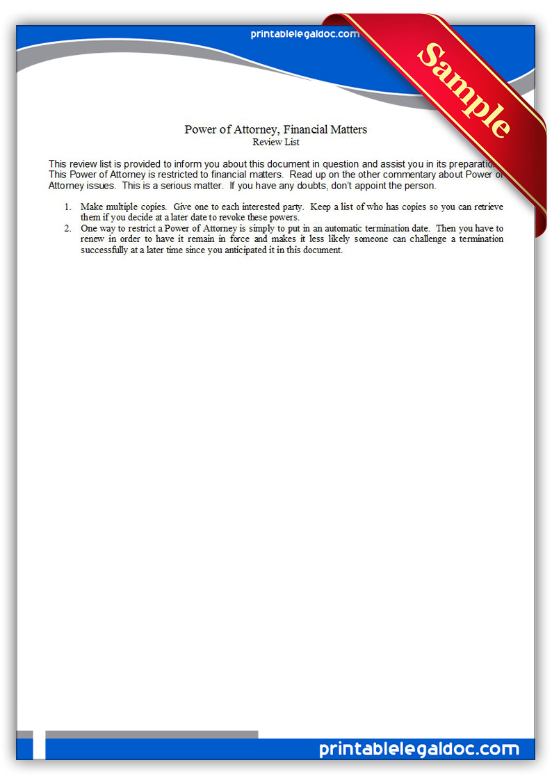 Free Printable Power Of Attorney Financial Matters Form GENERIC