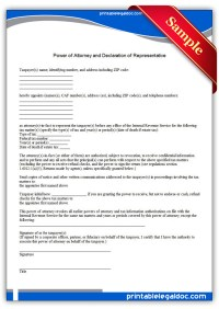 Free Printable Power Of Attorney and Declaration of ...