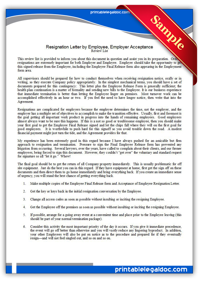 Free Printable Resignation Letter By Employee Employer Acceptance Form GENERIC