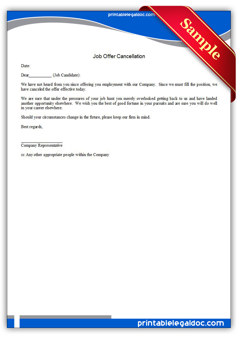 Free Printable Job Offer Cancellation Form GENERIC