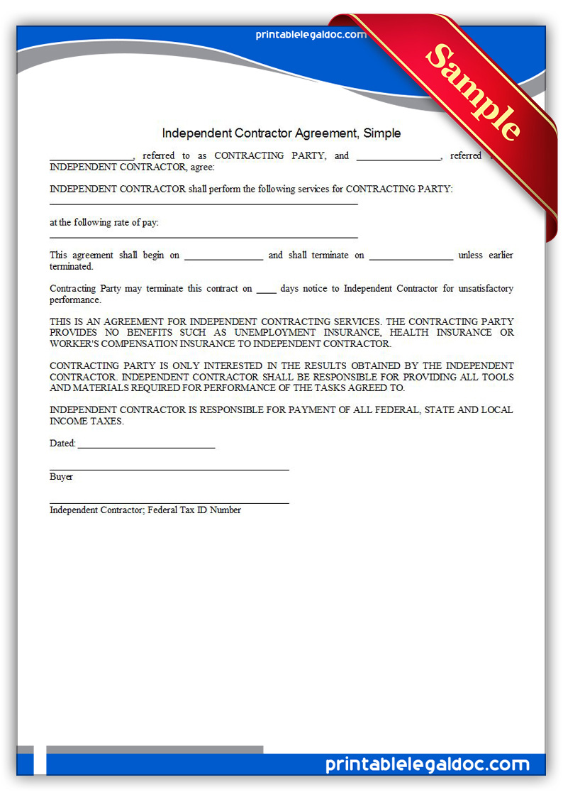 Free Printable Independent Contractor Agreement Simple Form GENERIC