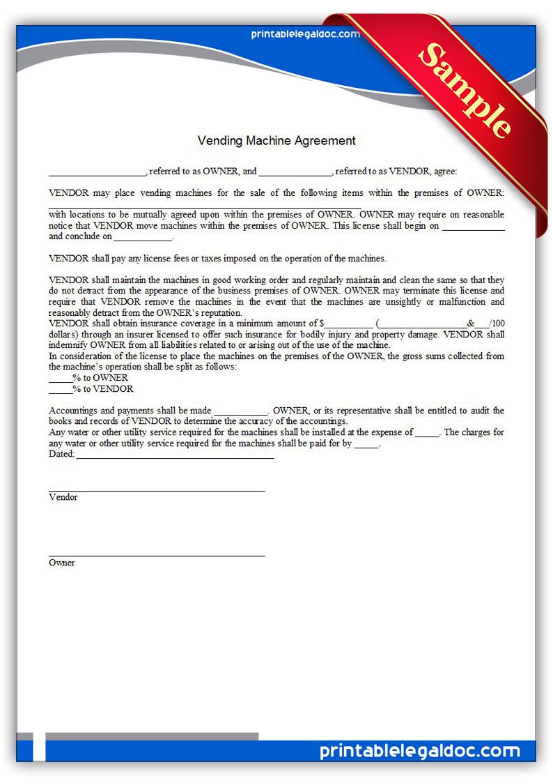 Free Printable Vending Machine Agreement Form GENERIC