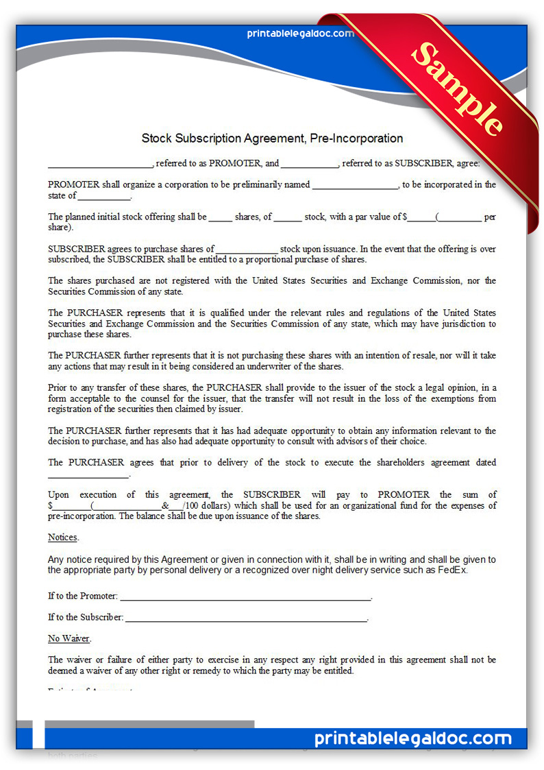 Printable Stock Subscription Agreement Pre Incorporation Form