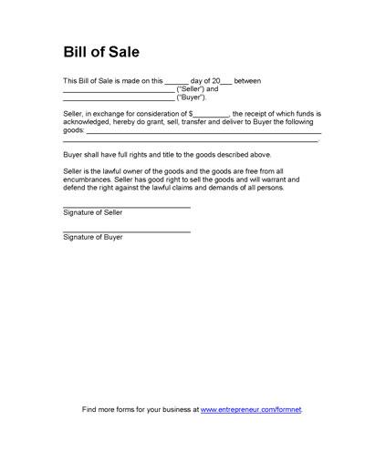 Free Printable Bill of Sale Camper Form GENERIC