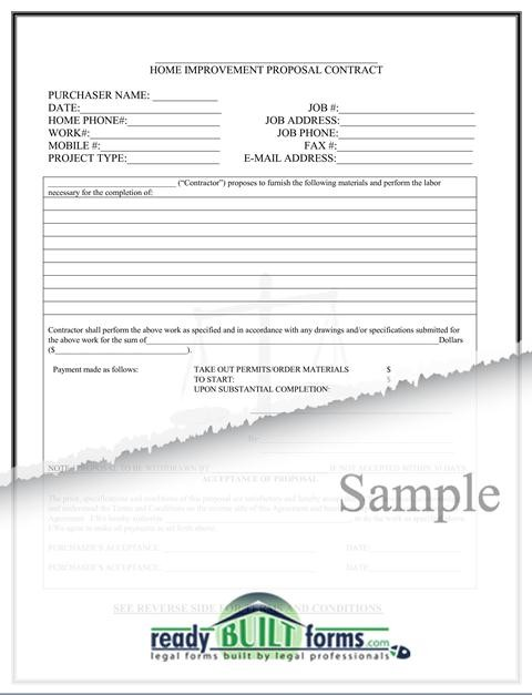 Free Printable Home Improvement Contract Form (GENERIC)