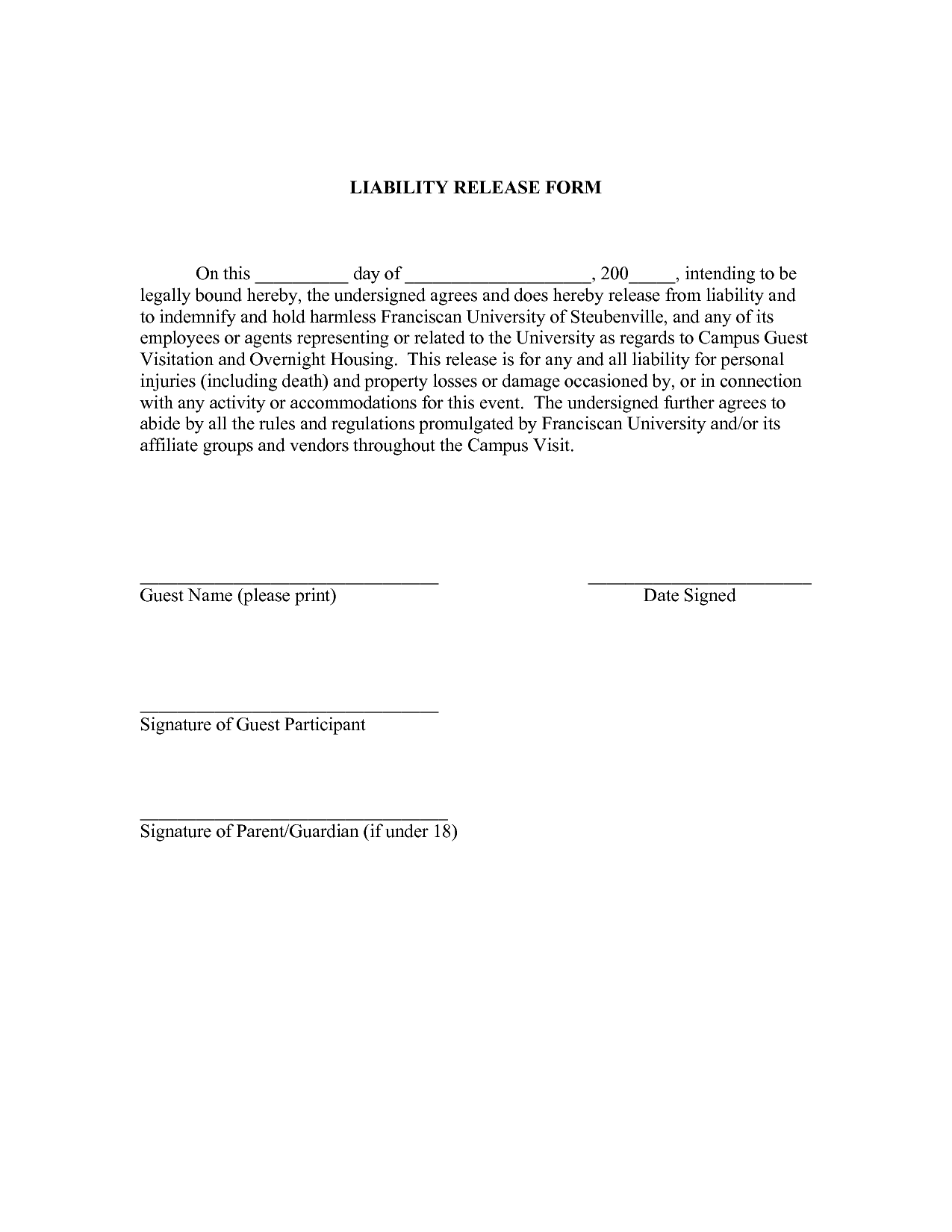 release of liability template