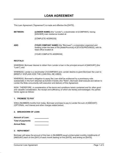 personal loans template