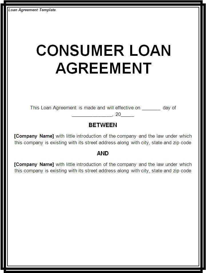 Free Printable Loan Template Form GENERIC