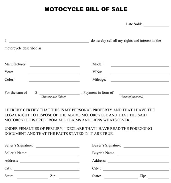 how to write a bill of sale for a motorcycle