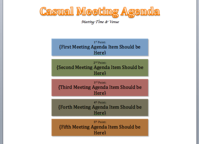 Casual Meeting Agenda Template
