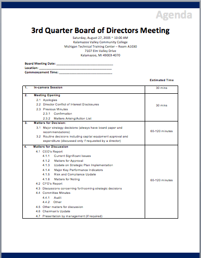Board of directors meeting agenda template printable for Non profit board meeting minutes template
