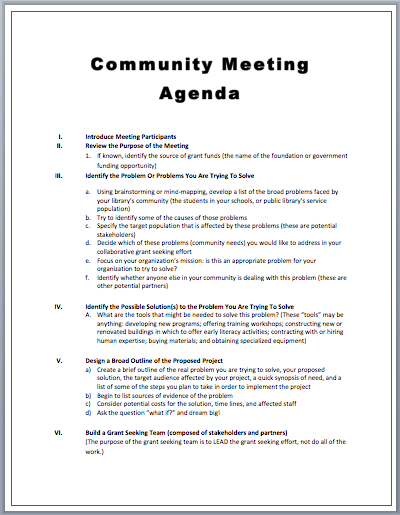 Community Meeting Agenda Template – Sample of a Meeting Agenda