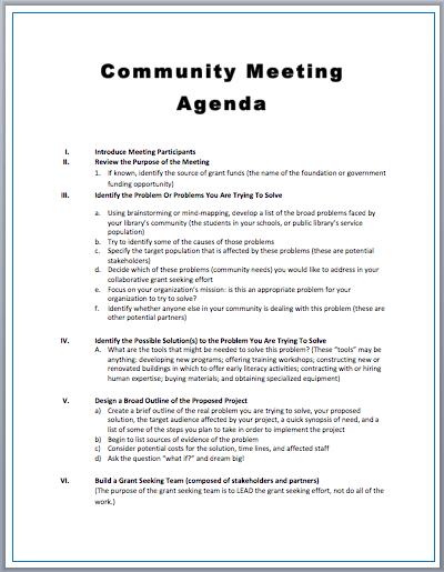 Community Meeting Agenda Template Printable Meeting