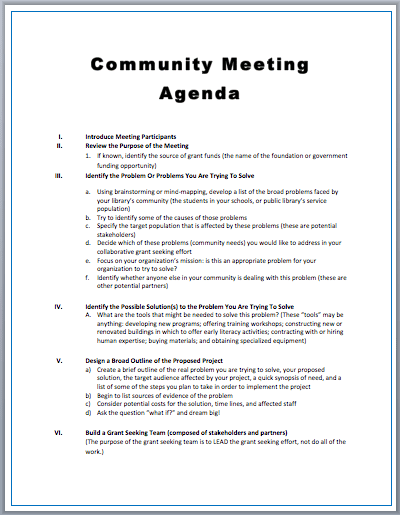Community Meeting Agenda Template  Meeting Outline Template