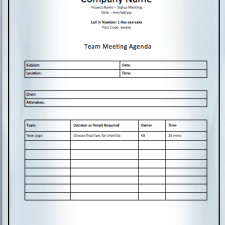 Project Team Meeting Agenda Template