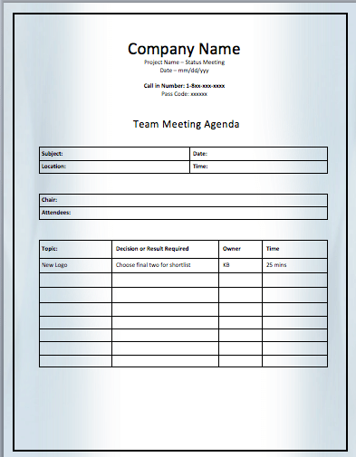 Project Team Meeting Agenda Template  Managers Meeting Agenda Template