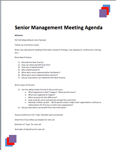 Senior Management Meeting Agenda Template – Meeting Agenda