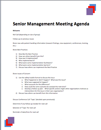 Senior Management Meeting Agenda Template | Printable Meeting Agenda  Templates  Agenda Layout Template