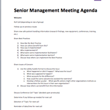 Senior Management Meeting Agenda