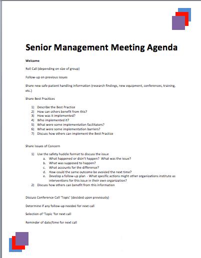 Senior Management Meeting Agenda Template | Printable Meeting Agenda  Templates