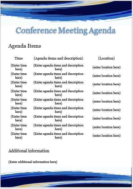 Conference meeting agenda template 04