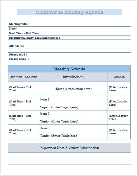 Conference meeting agenda template 08