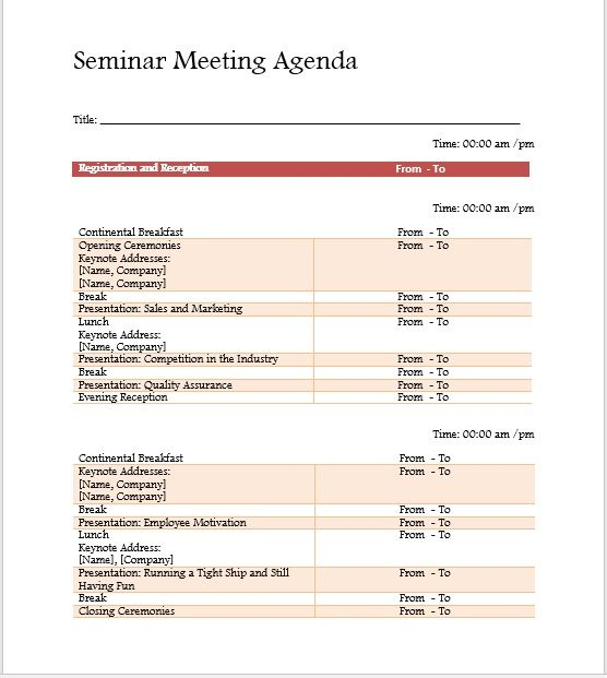 Seminar Meeting Agenda Template 1