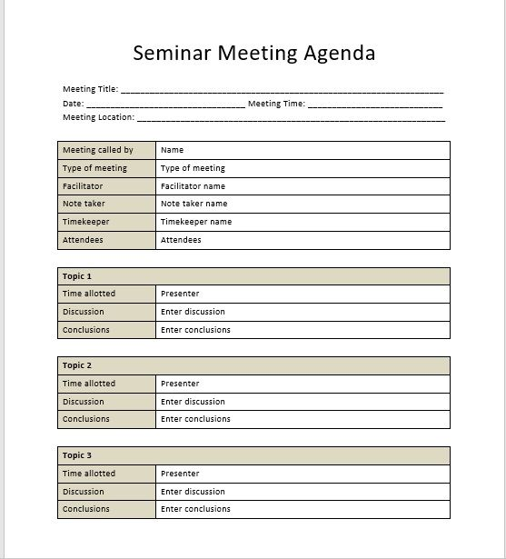 Seminar Meeting Agenda Template 5