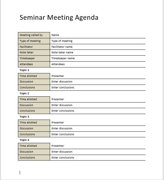 Seminar Meeting Agenda Template 6