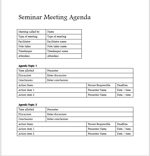Seminar Meeting Agenda Template 8